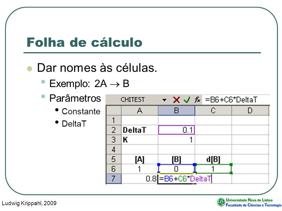 Ludwig Krippahl, 2009 67 Folha de cálculo Dar nomes às células.