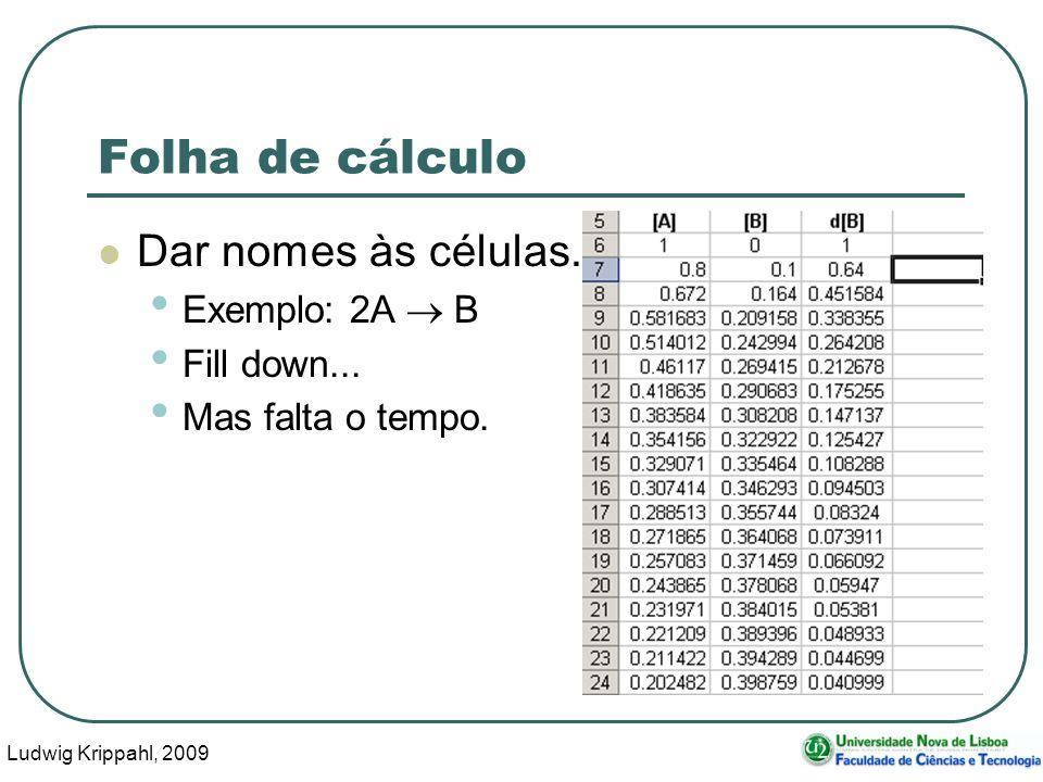Ludwig Krippahl, 2009 69 Folha de cálculo Dar nomes às células.