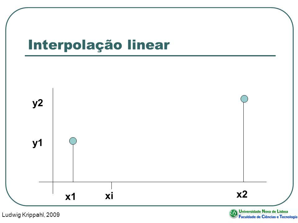 Ludwig Krippahl, 2009 8 Interpolação linear yi = (y1*(x2-xi) + y2*(xi-x1)) / (x2 – x1) xi x1 x2 y1 y2 yi