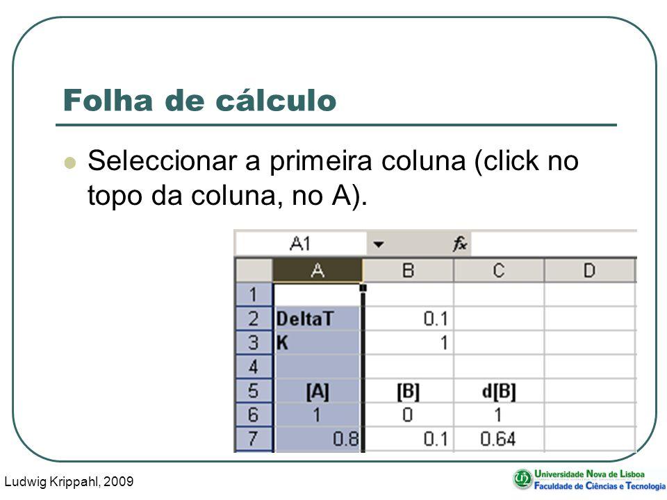 Ludwig Krippahl, 2009 70 Folha de cálculo Seleccionar a primeira coluna (click no topo da coluna, no A).