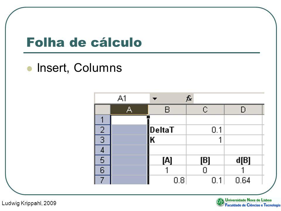 Ludwig Krippahl, 2009 72 Folha de cálculo Insert, Columns