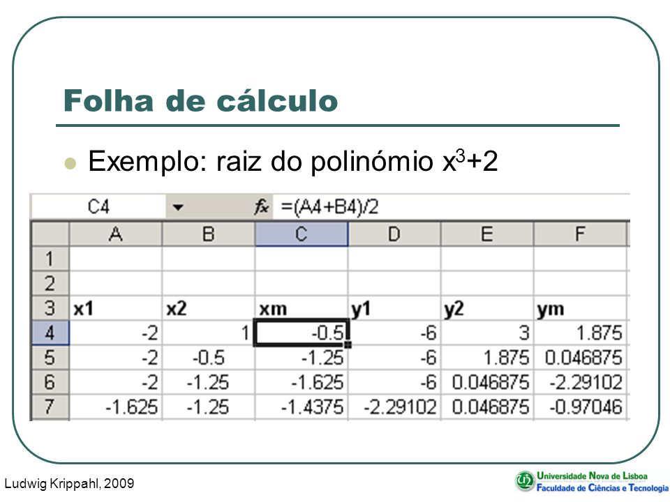 Ludwig Krippahl, 2009 76 Folha de cálculo Exemplo: raiz do polinómio x 3 +2