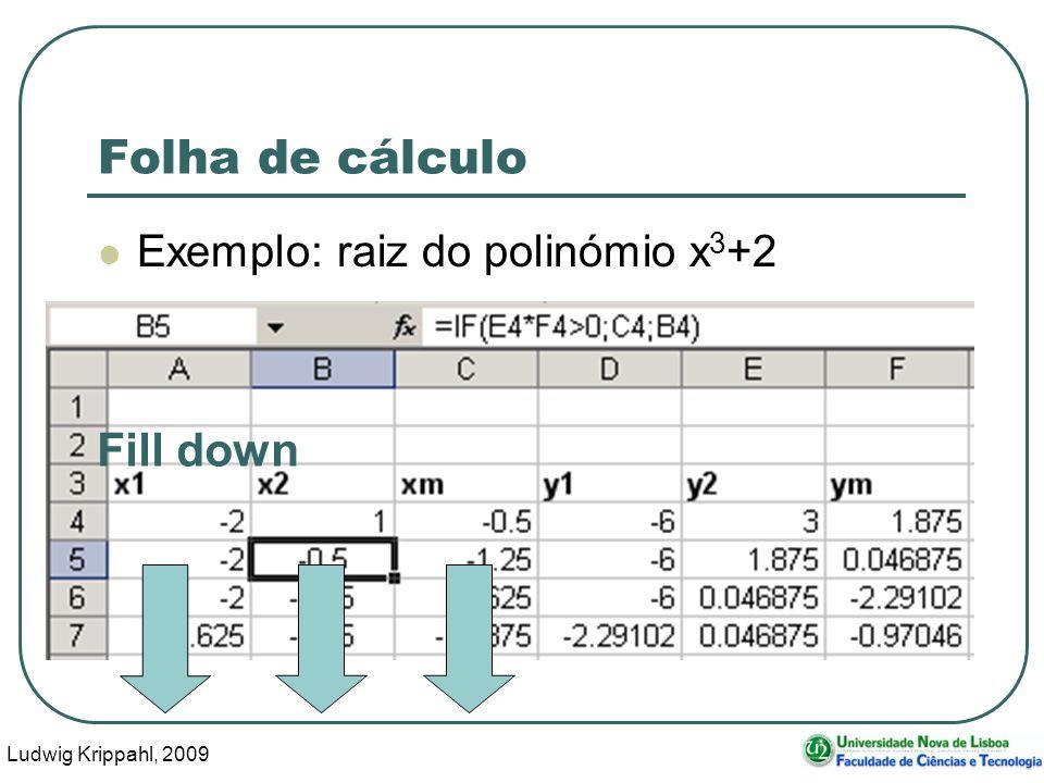 Ludwig Krippahl, 2009 80 Folha de cálculo Exemplo: raiz do polinómio x 3 +2 Fill down