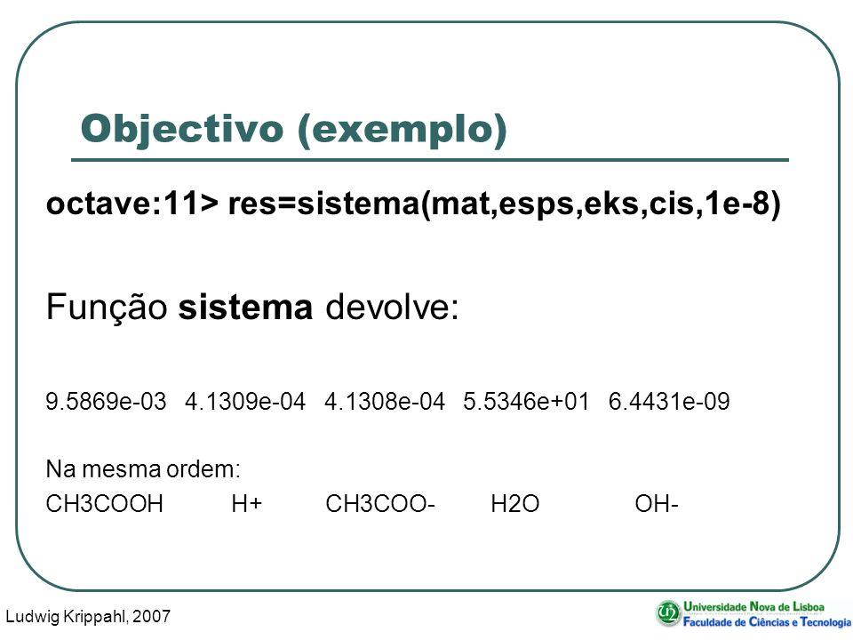 Ludwig Krippahl, 2007 13 Objectivo (exemplo) octave:11> res=sistema(mat,esps,eks,cis,1e-8) Função sistema devolve: 9.5869e-03 4.1309e-04 4.1308e-04 5.5346e+01 6.4431e-09 Na mesma ordem: CH3COOHH+ CH3COO-H2OOH-