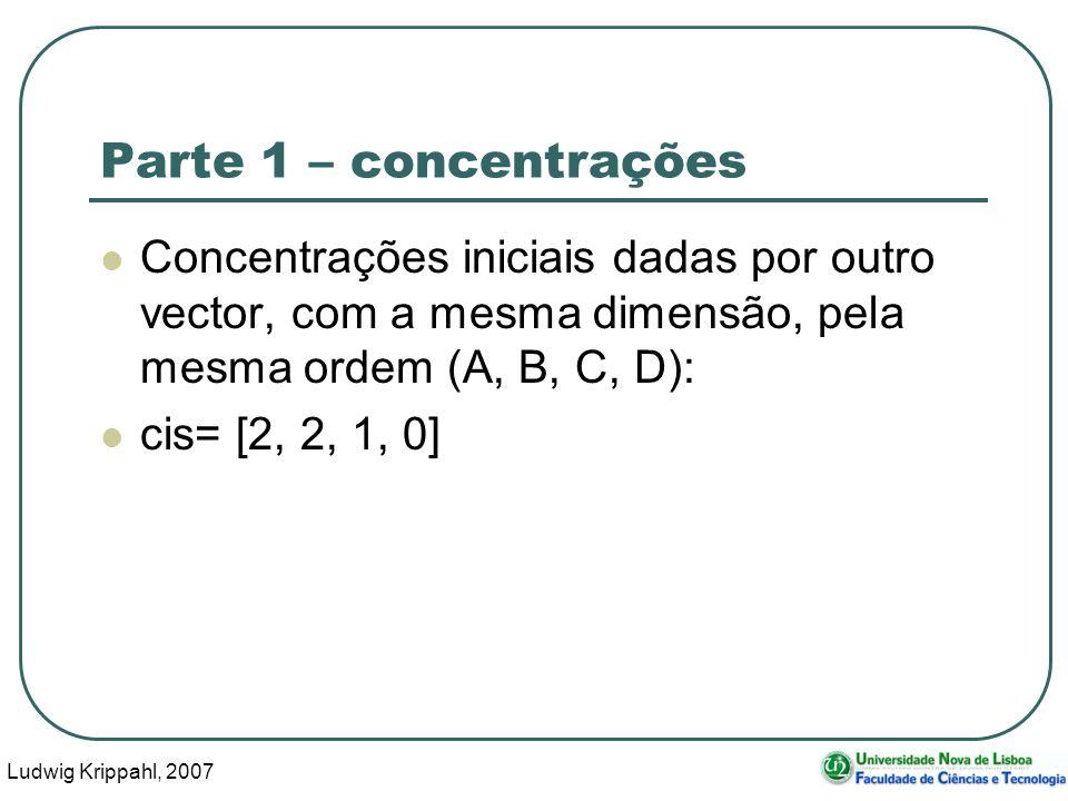 Ludwig Krippahl, 2007 19 Parte 1 – concentrações Concentrações iniciais dadas por outro vector, com a mesma dimensão, pela mesma ordem (A, B, C, D): cis= [2, 2, 1, 0]