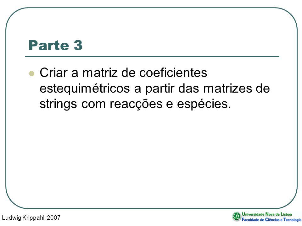 Ludwig Krippahl, 2007 29 Parte 3 Criar a matriz de coeficientes estequimétricos a partir das matrizes de strings com reacções e espécies.