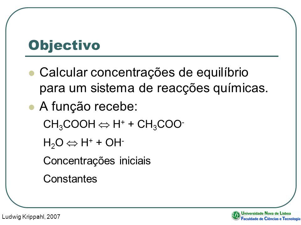 Ludwig Krippahl, 2007 45 Parte 3 – exemplo Reacções CH3COOH = H+ + CH3COO- H2O = H+ + OH- Lista CH3COOH H+ CH3COO-terceiro H2O OH- Resultado -1, 1, 1, 0, 0 0, 1, 0,-1, 1