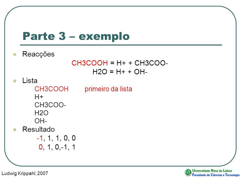 Ludwig Krippahl, 2007 43 Parte 3 – exemplo Reacções CH3COOH = H+ + CH3COO- H2O = H+ + OH- Lista CH3COOHprimeiro da lista H+ CH3COO- H2O OH- Resultado -1, 1, 1, 0, 0 0, 1, 0,-1, 1