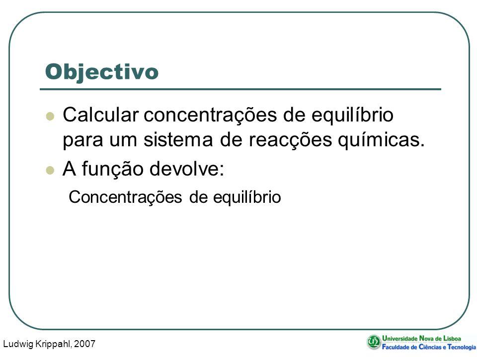 Ludwig Krippahl, 2007 5 Objectivo Calcular concentrações de equilíbrio para um sistema de reacções químicas.