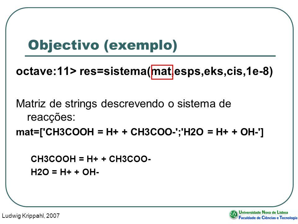 Ludwig Krippahl, 2007 8 Objectivo (exemplo) octave:11> res=sistema(mat,esps,eks,cis,1e-8) Matriz de strings com lista das espécies: esps=[ CH3COOH ; H+ ; CH3COO- ; H2O ; OH- ] CH3COOH H+ CH3COO- H2O OH-