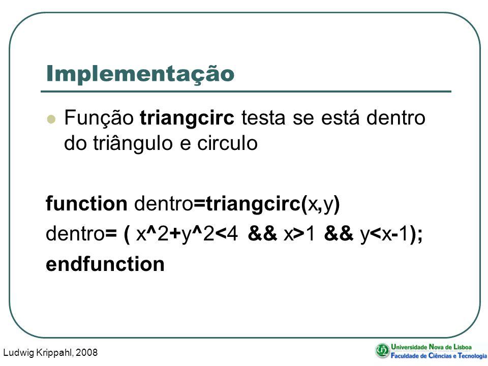 Ludwig Krippahl, 2008 10 Implementação Função triangcirc testa se está dentro do triângulo e circulo function dentro=triangcirc(x,y) dentro= ( x^2+y^2 1 && y<x-1); endfunction