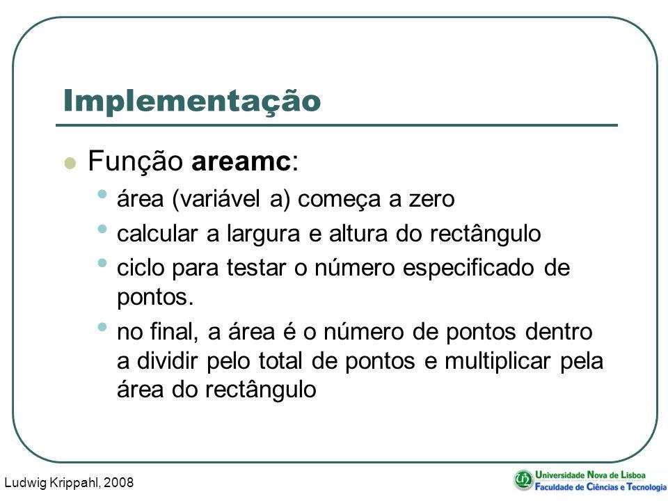 Ludwig Krippahl, 2008 21 Implementação Função areamc: área (variável a) começa a zero calcular a largura e altura do rectângulo ciclo para testar o número especificado de pontos.