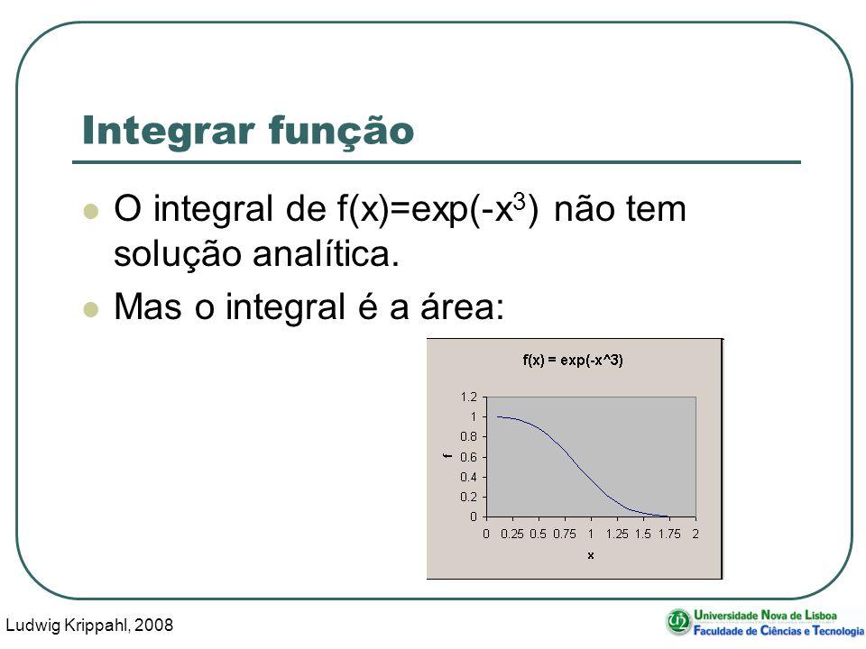 Ludwig Krippahl, 2008 30 Integrar função O integral de f(x)=exp(-x 3 ) não tem solução analítica.
