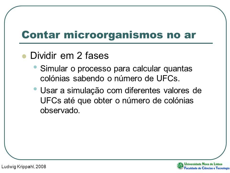 Ludwig Krippahl, 2008 38 Contar microorganismos no ar Dividir em 2 fases Simular o processo para calcular quantas colónias sabendo o número de UFCs.