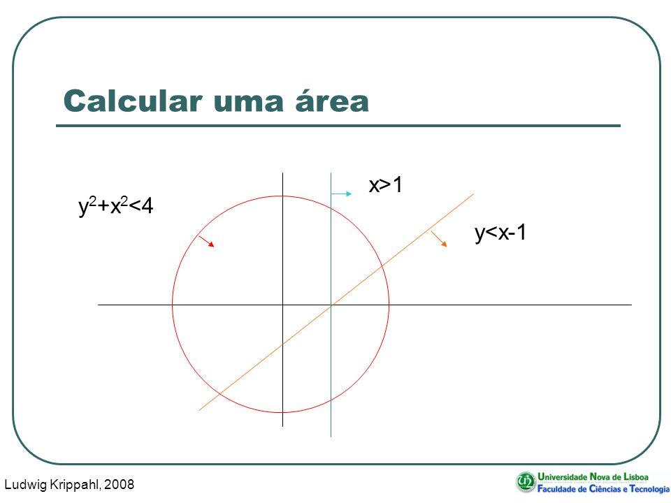 Ludwig Krippahl, 2008 5 Calcular uma área x>1 y<x-1 y 2 +x 2 <4 Área?