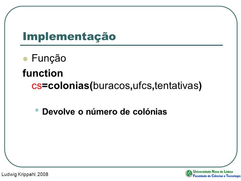 Ludwig Krippahl, 2008 41 Implementação Função function cs=colonias(buracos,ufcs,tentativas) Devolve o número de colónias