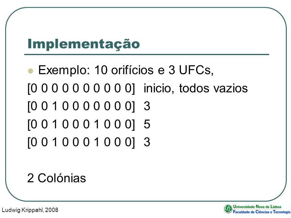 Ludwig Krippahl, 2008 51 Implementação Exemplo: 10 orifícios e 3 UFCs, [0 0 0 0 0 0 0 0 0 0] inicio, todos vazios [0 0 1 0 0 0 0 0 0 0]3 [0 0 1 0 0 0 1 0 0 0]5 [0 0 1 0 0 0 1 0 0 0]3 2 Colónias