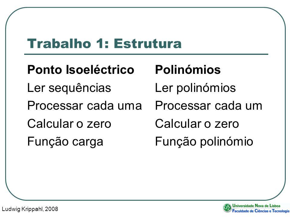 Ludwig Krippahl, 2008 58 Trabalho 1: Estrutura Ponto IsoeléctricoPolinómios Ler sequênciasLer polinómios Processar cada umaProcessar cada umCalcular o zero Função cargaFunção polinómio