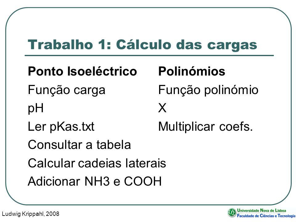 Ludwig Krippahl, 2008 59 Trabalho 1: Cálculo das cargas Ponto IsoeléctricoPolinómios Função cargaFunção polinómio pHX Ler pKas.txtMultiplicar coefs.