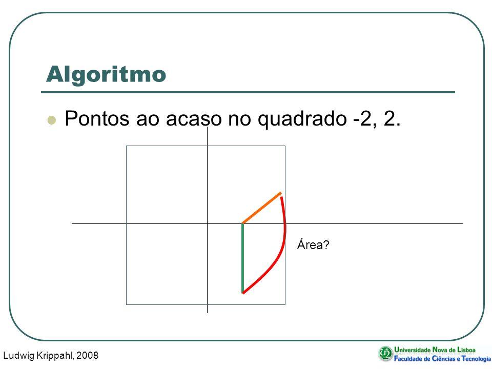 Ludwig Krippahl, 2008 6 Algoritmo Pontos ao acaso no quadrado -2, 2. Área?