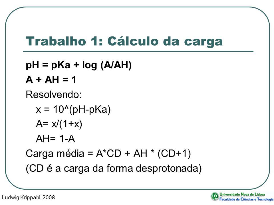 Ludwig Krippahl, 2008 60 Trabalho 1: Cálculo da carga pH = pKa + log (A/AH) A + AH = 1 Resolvendo: x = 10^(pH-pKa) A= x/(1+x) AH= 1-A Carga média = A*CD + AH * (CD+1) (CD é a carga da forma desprotonada)