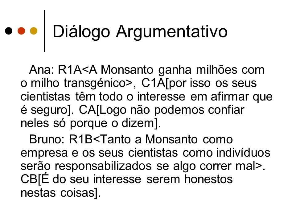Diálogo Argumentativo Ana: R1A, C1A[por isso os seus cientistas têm todo o interesse em afirmar que é seguro]. CA[Logo não podemos confiar neles só po