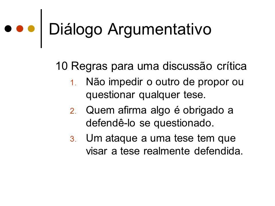 Diálogo Argumentativo 10 Regras para uma discussão crítica 1. Não impedir o outro de propor ou questionar qualquer tese. 2. Quem afirma algo é obrigad