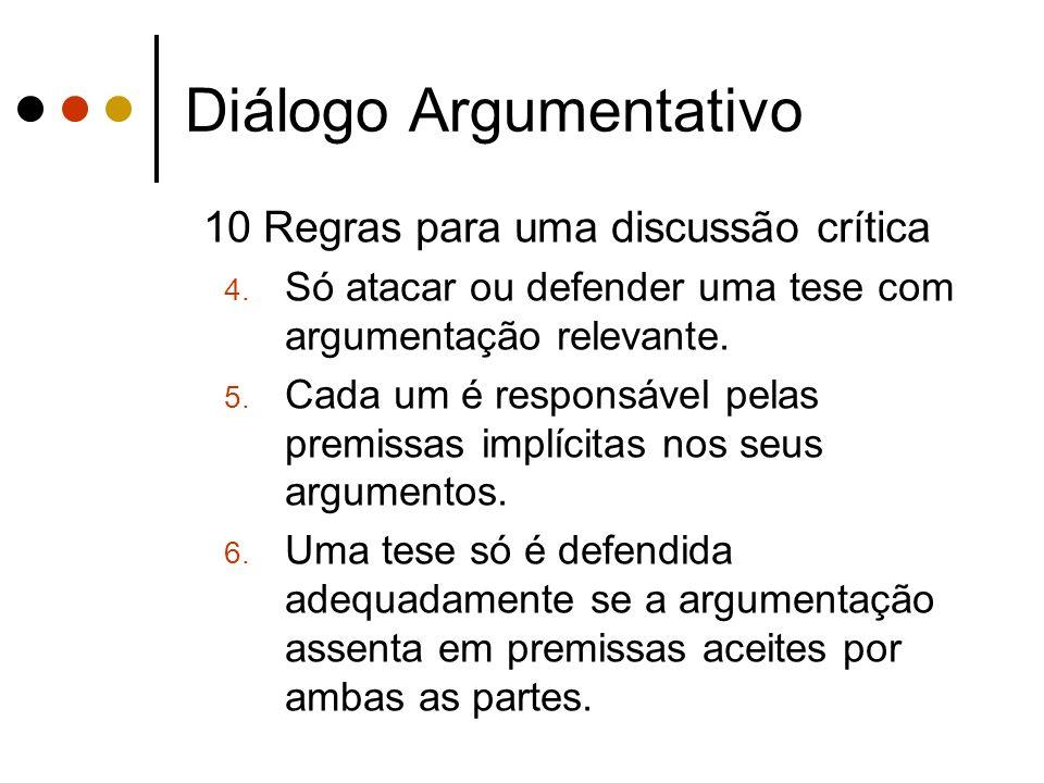 Diálogo Argumentativo 10 Regras para uma discussão crítica 4. Só atacar ou defender uma tese com argumentação relevante. 5. Cada um é responsável pela