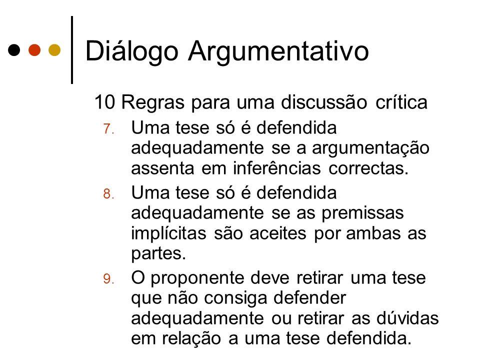 Diálogo Argumentativo 10 Regras para uma discussão crítica 7. Uma tese só é defendida adequadamente se a argumentação assenta em inferências correctas