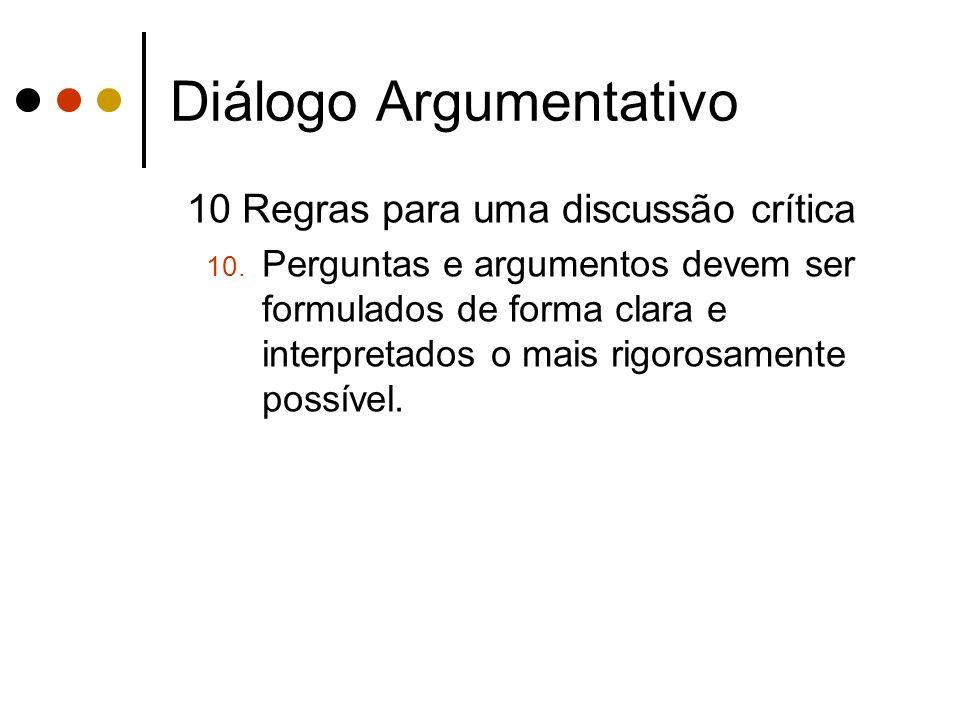 Diálogo Argumentativo 10 Regras para uma discussão crítica 10. Perguntas e argumentos devem ser formulados de forma clara e interpretados o mais rigor