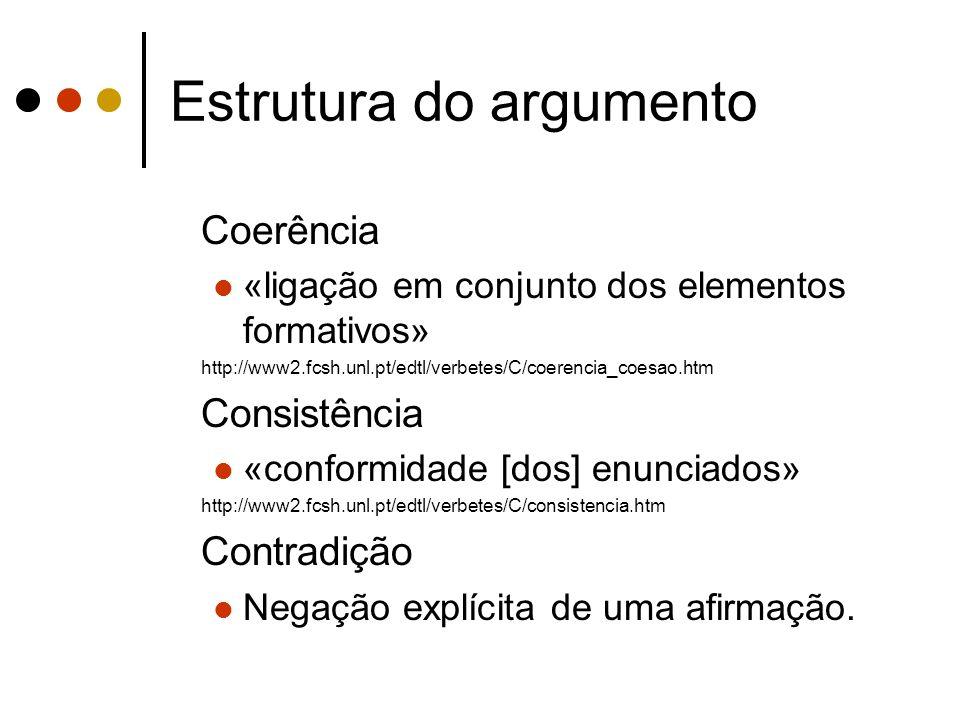 Estrutura do argumento Coerência «ligação em conjunto dos elementos formativos» http://www2.fcsh.unl.pt/edtl/verbetes/C/coerencia_coesao.htm Consistên