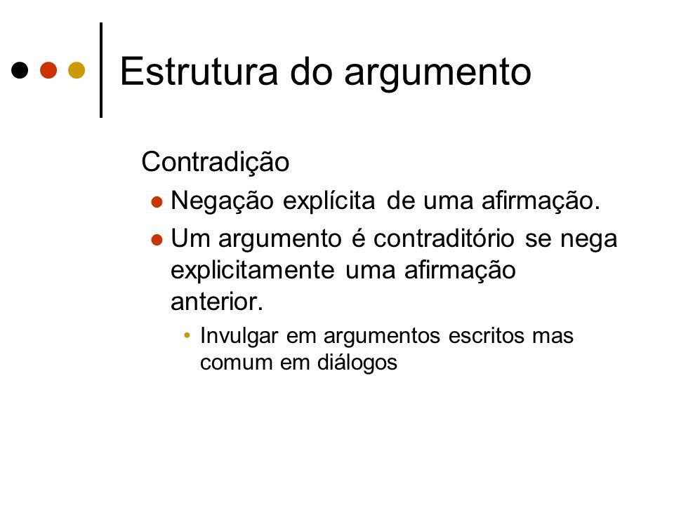 Estrutura do argumento Contradição Negação explícita de uma afirmação. Um argumento é contraditório se nega explicitamente uma afirmação anterior. Inv