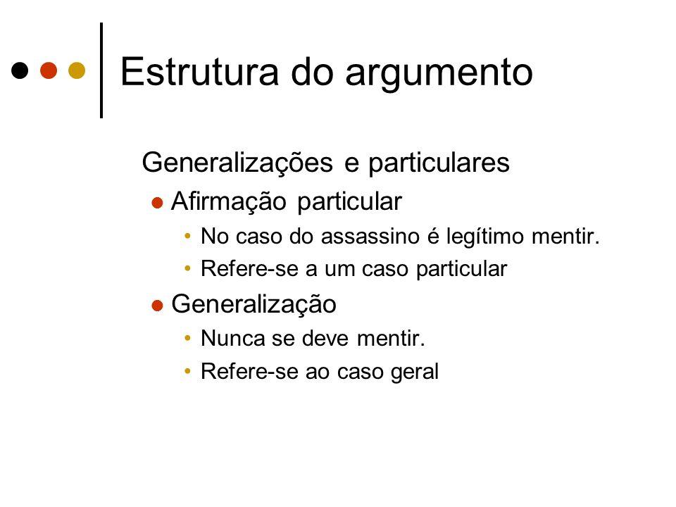 Estrutura do argumento Generalizações e particulares Afirmação particular No caso do assassino é legítimo mentir. Refere-se a um caso particular Gener