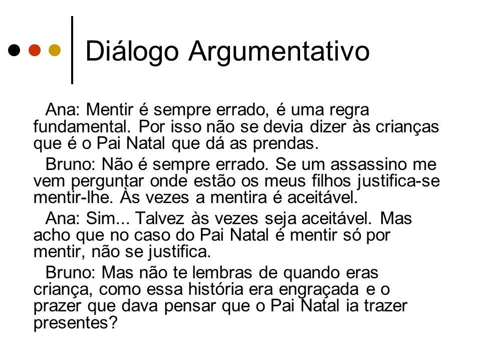 Diálogo Argumentativo Ana: Mentir é sempre errado, é uma regra fundamental. Por isso não se devia dizer às crianças que é o Pai Natal que dá as prenda