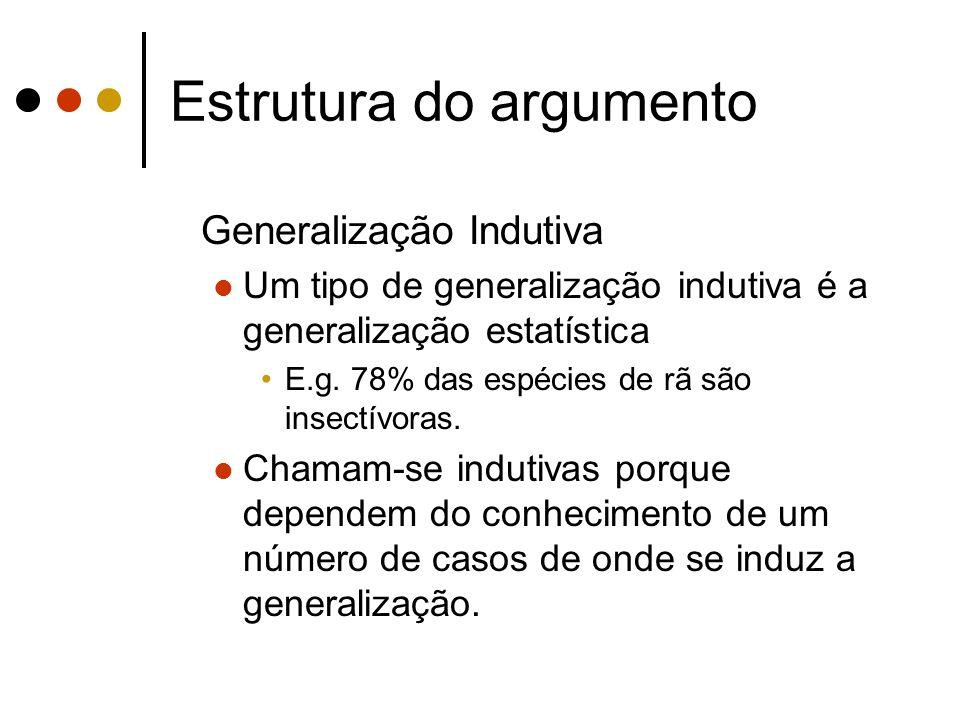 Estrutura do argumento Generalização Indutiva Um tipo de generalização indutiva é a generalização estatística E.g. 78% das espécies de rã são insectív