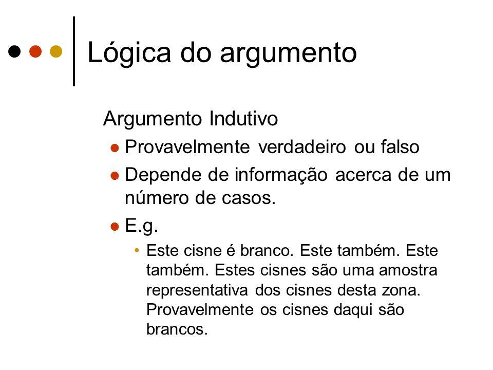 Lógica do argumento Argumento Indutivo Provavelmente verdadeiro ou falso Depende de informação acerca de um número de casos. E.g. Este cisne é branco.
