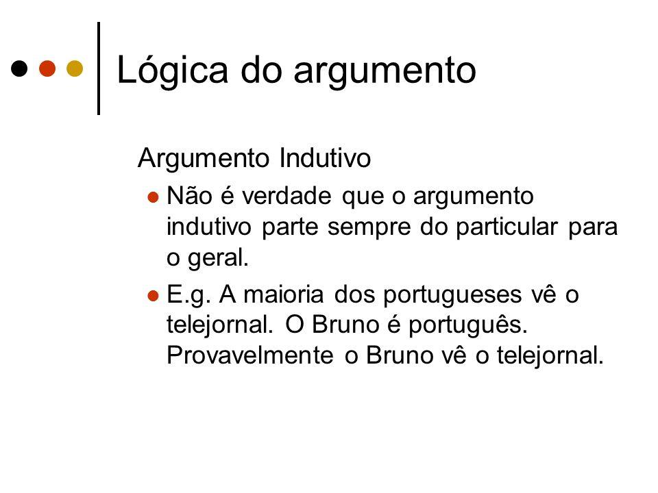 Lógica do argumento Argumento Indutivo Não é verdade que o argumento indutivo parte sempre do particular para o geral. E.g. A maioria dos portugueses