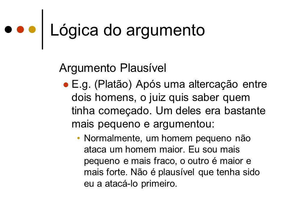 Lógica do argumento Argumento Plausível E.g. (Platão) Após uma altercação entre dois homens, o juiz quis saber quem tinha começado. Um deles era basta