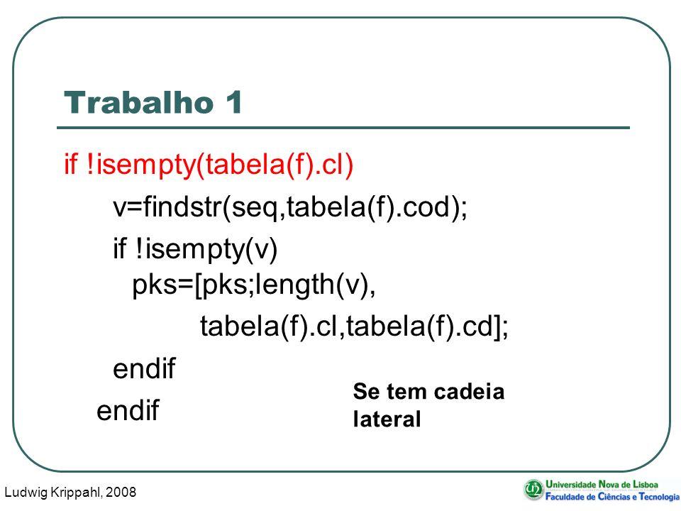Ludwig Krippahl, 2008 12 Trabalho 1 if !isempty(tabela(f).cl) v=findstr(seq,tabela(f).cod); if !isempty(v) pks=[pks;length(v), tabela(f).cl,tabela(f).cd]; endif Se tem cadeia lateral