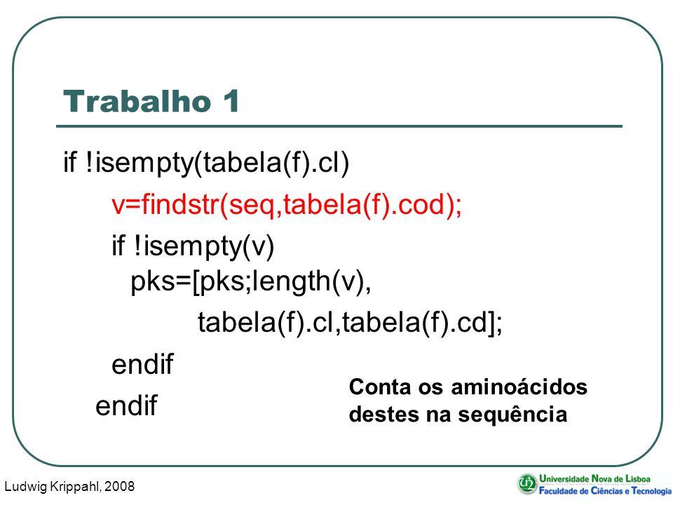 Ludwig Krippahl, 2008 13 Trabalho 1 if !isempty(tabela(f).cl) v=findstr(seq,tabela(f).cod); if !isempty(v) pks=[pks;length(v), tabela(f).cl,tabela(f).cd]; endif Conta os aminoácidos destes na sequência