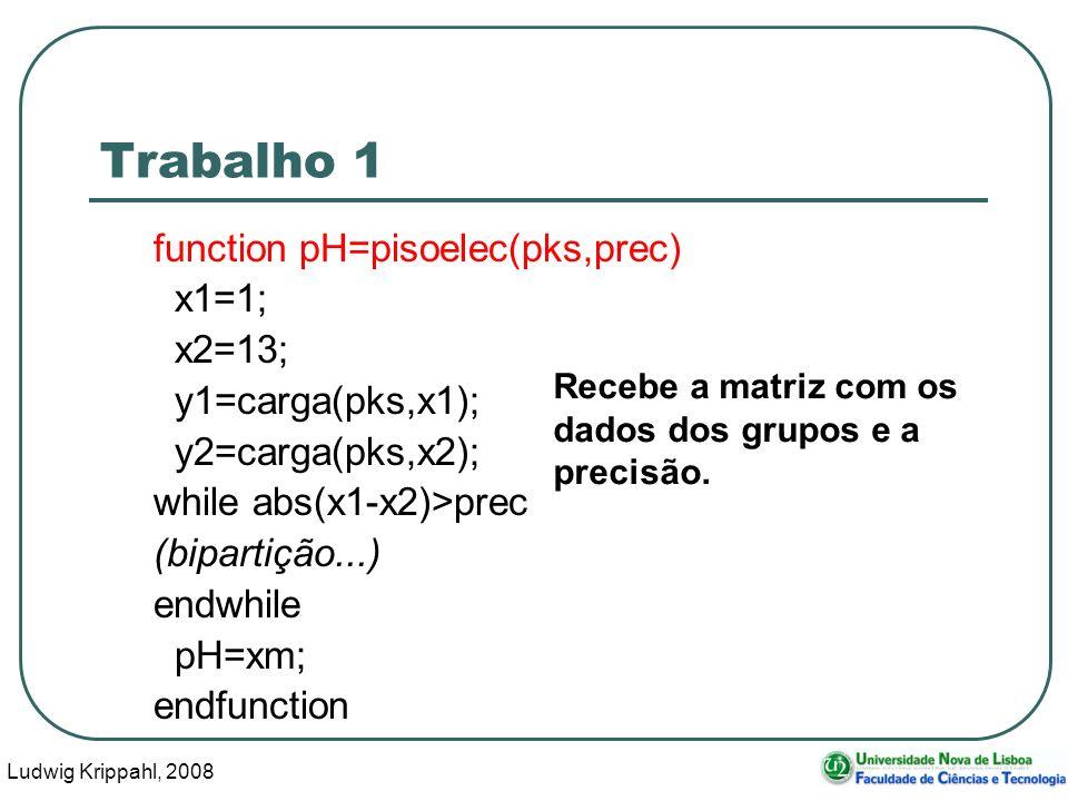 Ludwig Krippahl, 2008 16 Trabalho 1 function pH=pisoelec(pks,prec) x1=1; x2=13; y1=carga(pks,x1); y2=carga(pks,x2); while abs(x1-x2)>prec (bipartição...) endwhile pH=xm; endfunction Recebe a matriz com os dados dos grupos e a precisão.