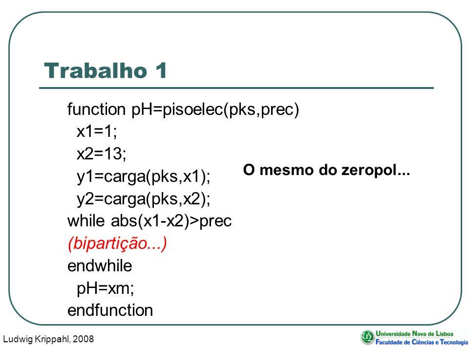 Ludwig Krippahl, 2008 19 Trabalho 1 function pH=pisoelec(pks,prec) x1=1; x2=13; y1=carga(pks,x1); y2=carga(pks,x2); while abs(x1-x2)>prec (bipartição...) endwhile pH=xm; endfunction O mesmo do zeropol...