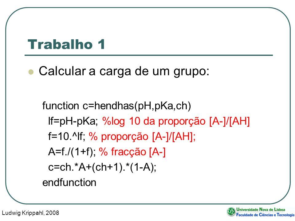 Ludwig Krippahl, 2008 20 Trabalho 1 Calcular a carga de um grupo: function c=hendhas(pH,pKa,ch) lf=pH-pKa; %log 10 da proporção [A-]/[AH] f=10.^lf; % proporção [A-]/[AH]; A=f./(1+f); % fracção [A-] c=ch.*A+(ch+1).*(1-A); endfunction