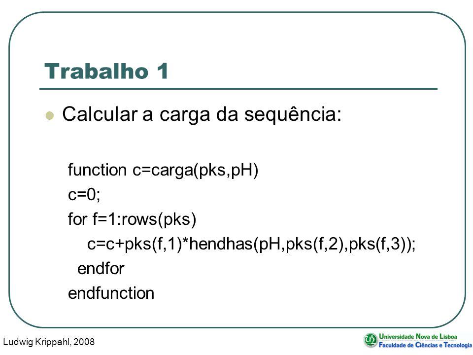 Ludwig Krippahl, 2008 21 Trabalho 1 Calcular a carga da sequência: function c=carga(pks,pH) c=0; for f=1:rows(pks) c=c+pks(f,1)*hendhas(pH,pks(f,2),pks(f,3)); endfor endfunction