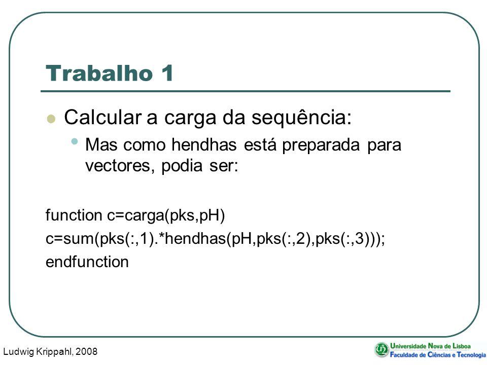 Ludwig Krippahl, 2008 22 Trabalho 1 Calcular a carga da sequência: Mas como hendhas está preparada para vectores, podia ser: function c=carga(pks,pH) c=sum(pks(:,1).*hendhas(pH,pks(:,2),pks(:,3))); endfunction