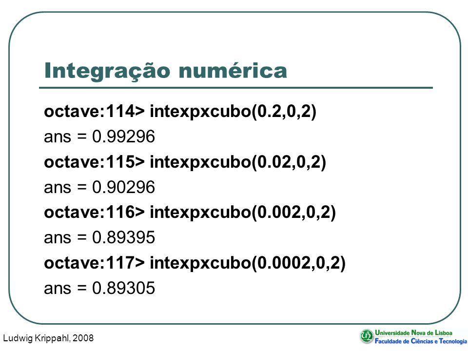 Ludwig Krippahl, 2008 29 Integração numérica octave:114> intexpxcubo(0.2,0,2) ans = 0.99296 octave:115> intexpxcubo(0.02,0,2) ans = 0.90296 octave:116> intexpxcubo(0.002,0,2) ans = 0.89395 octave:117> intexpxcubo(0.0002,0,2) ans = 0.89305