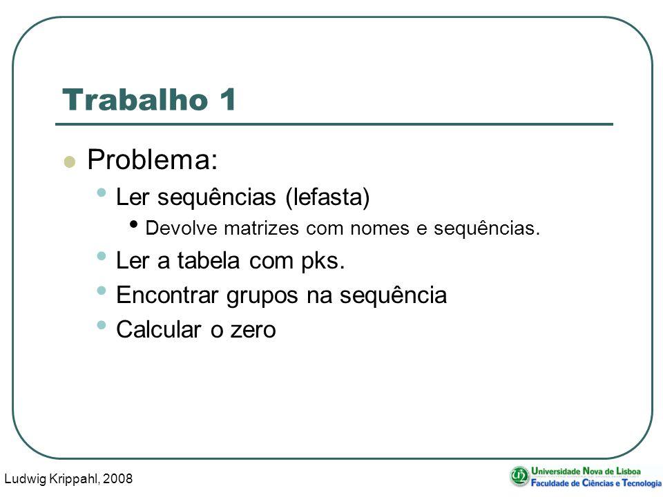 Ludwig Krippahl, 2008 3 Trabalho 1 Problema: Ler sequências (lefasta) Devolve matrizes com nomes e sequências.