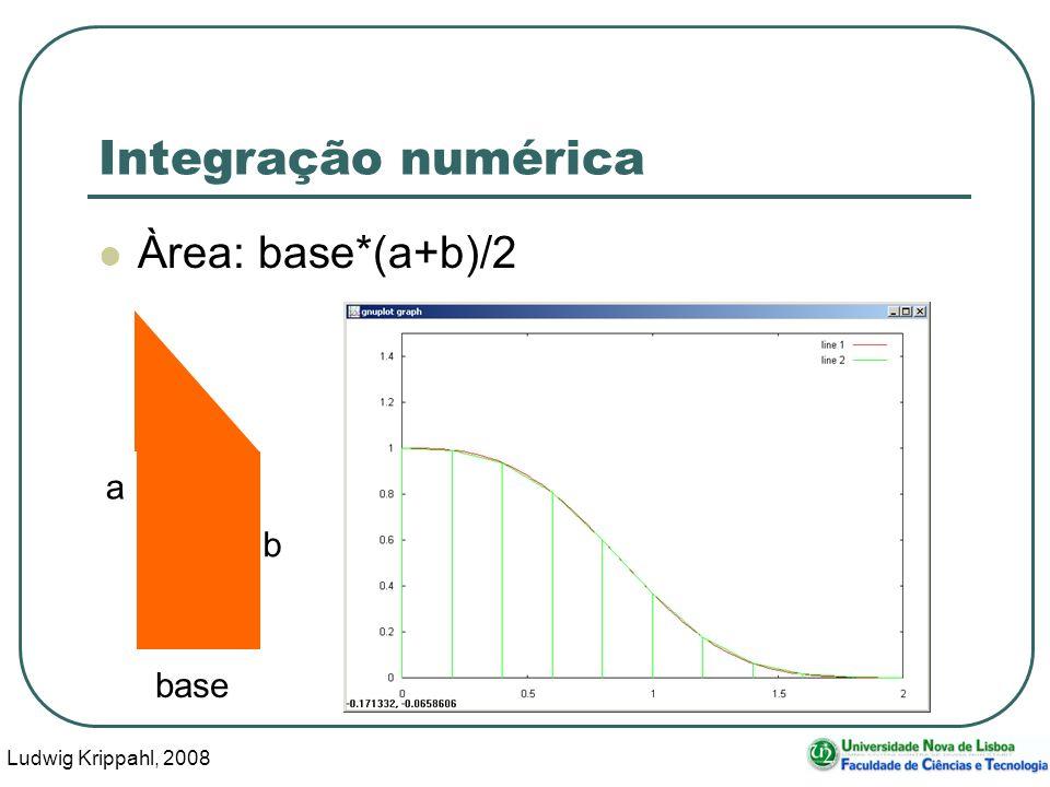 Ludwig Krippahl, 2008 31 Integração numérica Àrea: base*(a+b)/2 a b base