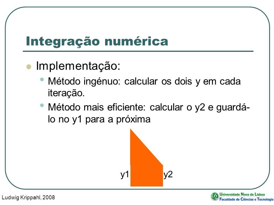 Ludwig Krippahl, 2008 32 Integração numérica Implementação: Método ingénuo: calcular os dois y em cada iteração.