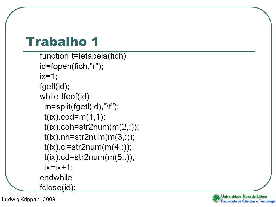 Ludwig Krippahl, 2008 4 Trabalho 1 function t=letabela(fich) id=fopen(fich, r ); ix=1; fgetl(id); while !feof(id) m=split(fgetl(id), \t ); t(ix).cod=m(1,1); t(ix).coh=str2num(m(2,:)); t(ix).nh=str2num(m(3,:)); t(ix).cl=str2num(m(4,:)); t(ix).cd=str2num(m(5,:)); ix=ix+1; endwhile fclose(id);